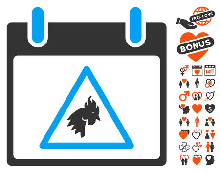 failed plan: Rooster Warning Calendar Day pictograph with bonus valentine pictures. Vector illustration style is flat iconic elements for web design, app user interfaces. Illustration