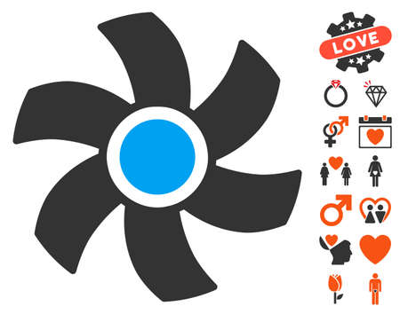rotor: Rotor pictograph with bonus valentine pictograms. Vector illustration style is flat iconic elements for web design, app user interfaces.