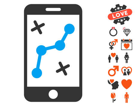 dating strategy: Route Smartphone pictograph with bonus valentine graphic icons. Vector illustration style is flat iconic symbols for web design, app user interfaces. Illustration