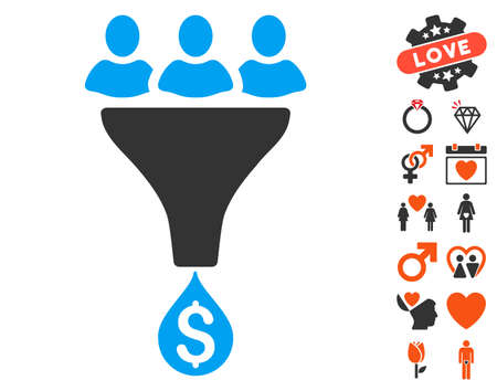 Sales Funnel icon with bonus amour clip art. Vector illustration style is flat iconic symbols for web design, app user interfaces. Illustration