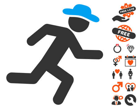 Log Out: Running Gentleman pictograph with bonus love pictograms. Vector illustration style is flat iconic symbols for web design, app user interfaces.