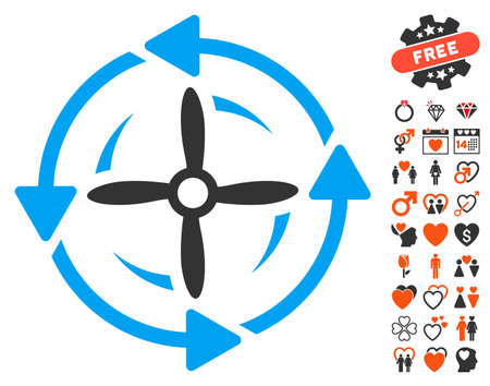 Screw Rotation pictograph with bonus marriage icon set. Vector illustration style is flat iconic symbols for web design, app user interfaces.