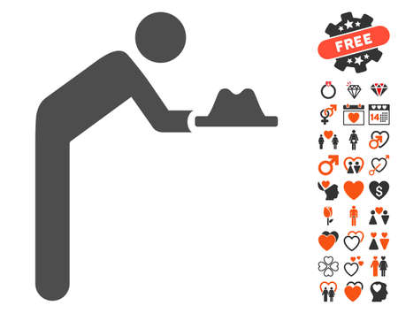 Servant With Hat icon with bonus decorative icon set. Vector illustration style is flat iconic symbols for web design, app user interfaces.