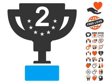 tribute: Second Prize Cup pictograph with bonus decorative clip art. Vector illustration style is flat iconic symbols for web design, app user interfaces. Illustration