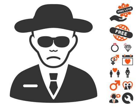 agent de sécurité: pictograph Agent de sécurité avec amour bonus pictogrammes. Vector illustration style est plat éléments iconiques pour la conception web, interfaces utilisateur de l'application. Illustration
