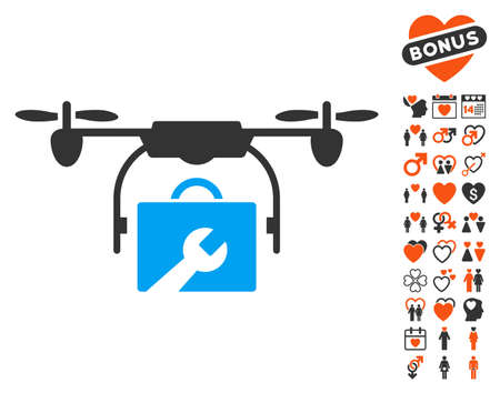 Service Drone icon with bonus dating clip art. Vector illustration style is flat iconic elements for web design, app user interfaces. Illustration