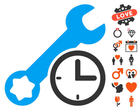 Service Time pictograph with bonus valentine graphic icons. Vector illustration style is flat iconic elements for web design, app user interfaces.