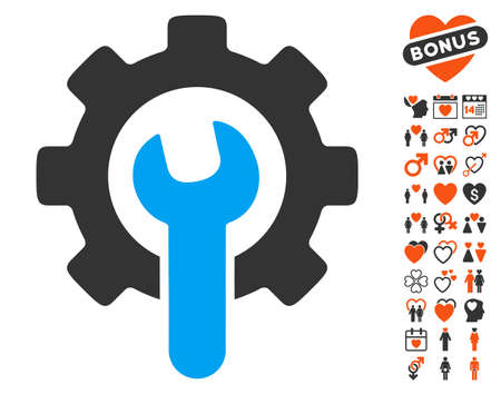 Service Tools pictograph with bonus love pictures. Vector illustration style is flat iconic elements for web design, app user interfaces.