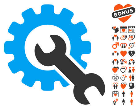Service Tools icon with bonus marriage pictures. Vector illustration style is flat iconic symbols for web design, app user interfaces. Illustration