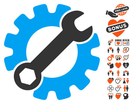 Service Tools pictograph with bonus valentine pictograms. Vector illustration style is flat iconic symbols for web design, app user interfaces. Illustration