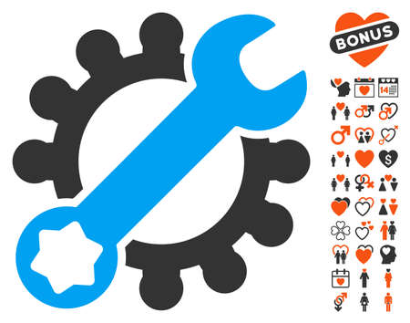 Service Tools pictograph with bonus love design elements. Vector illustration style is flat iconic symbols for web design, app user interfaces. Illustration