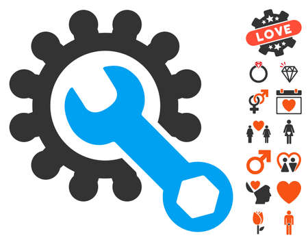 Service Tools pictograph with bonus romantic pictograms. Vector illustration style is flat iconic elements for web design, app user interfaces. Illustration