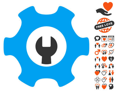 Service Tools pictograph with bonus dating images. Vector illustration style is flat iconic elements for web design, app user interfaces.