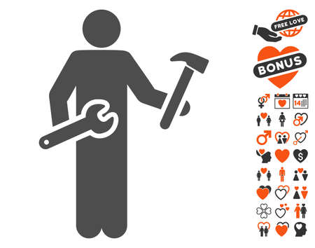 serviceman: Serviceman pictograph with bonus dating design elements. Vector illustration style is flat iconic symbols for web design, app user interfaces.