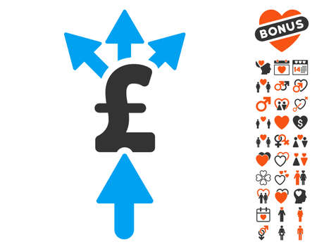 Share Pound Payment icon with bonus decoration pictograph collection. Vector illustration style is flat iconic symbols for web design, app user interfaces.
