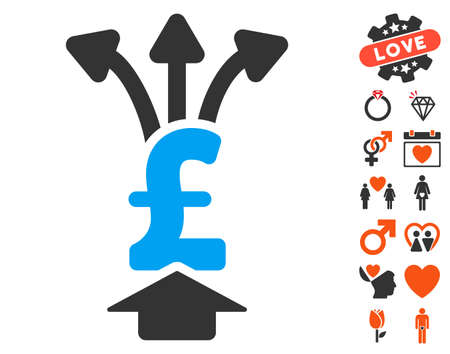 Share Pound pictograph with bonus decorative symbols. Vector illustration style is flat iconic symbols for web design, app user interfaces. Illustration