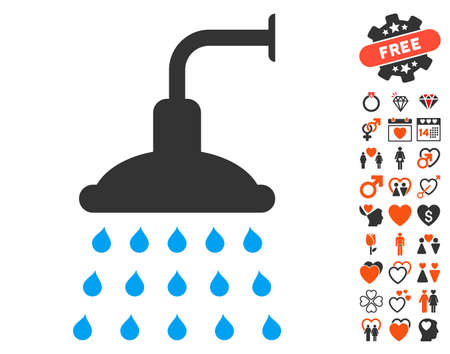 desinfectante: Shower icon with bonus lovely symbols. Vector illustration style is flat iconic elements for web design, app user interfaces.