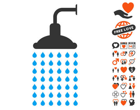 Shower icon with bonus amour clip art. Vector illustration style is flat iconic symbols for web design, app user interfaces.