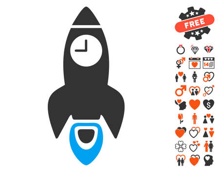 Space Rocket Time pictograph with bonus lovely graphic icons. Vector illustration style is flat iconic elements for web design, app user interfaces.