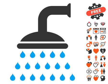 Shower pictograph with bonus decoration pictograms. Vector illustration style is flat iconic symbols for web design, app user interfaces. Illustration