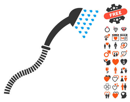 antiseptic: Shower pictograph with bonus dating pictures. Vector illustration style is flat iconic symbols for web design, app user interfaces.