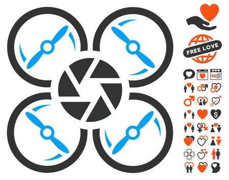 Shutter Drone icon with bonus lovely symbols. Vector illustration style is flat iconic elements for web design, app user interfaces.