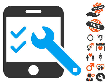 Smartphone Options icon with bonus decoration graphic icons. Vector illustration style is flat iconic symbols for web design, app user interfaces.