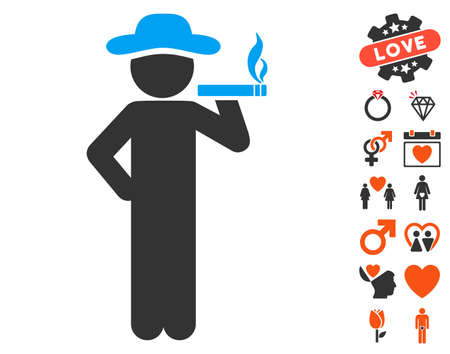 Smoking Gentleman pictograph with bonus marriage design elements. Vector illustration style is flat iconic symbols for web design, app user interfaces.