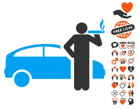 cigar smoking man: Smoking Taxi Driver pictograph with bonus romantic clip art. Vector illustration style is flat iconic symbols for web design, app user interfaces. Illustration