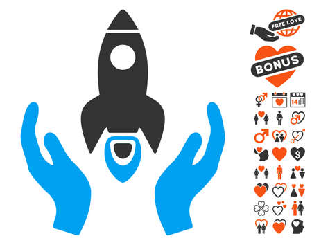 Space Rocket Care Hands icon with bonus passion graphic icons. Vector illustration style is flat iconic elements for web design, app user interfaces.