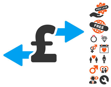 spend: Spend Pound Money pictograph with bonus dating icon set. Vector illustration style is flat iconic elements for web design, app user interfaces.