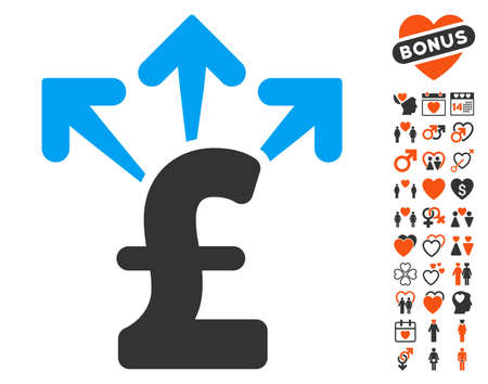 spend: Spend Pound Money pictograph with bonus decoration symbols. Vector illustration style is flat iconic elements for web design, app user interfaces.
