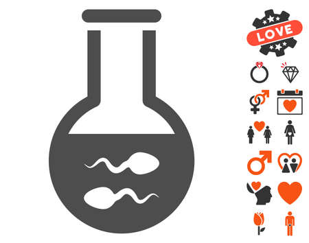 idler: Sperm Flask pictograph with bonus dating design elements. Vector illustration style is flat iconic elements for web design, app user interfaces.