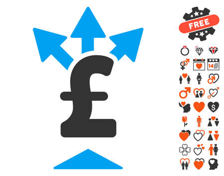 Split Pound Payment pictograph with bonus passion pictograms. Vector illustration style is flat iconic elements for web design, app user interfaces.