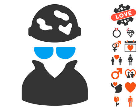 Spotted Spy icon with bonus decoration symbols. Vector illustration style is flat iconic elements for web design, app user interfaces. Illustration