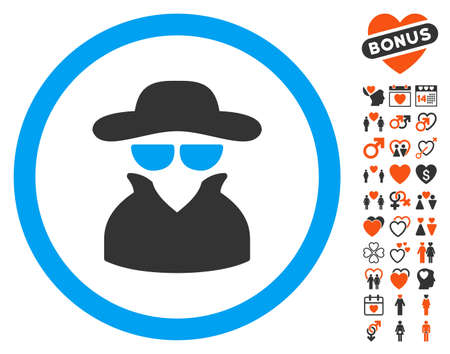 fbi: Spy icon with bonus passion icon set. Vector illustration style is flat iconic elements for web design, app user interfaces.