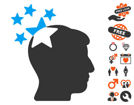 ruch: Stars Hit Head pictograph with bonus valentine clip art. Vector illustration style is flat iconic symbols for web design, app user interfaces.