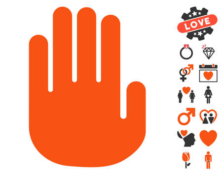 Stop Hand pictograph with bonus love pictograms. Vector illustration style is flat iconic elements for web design, app user interfaces.