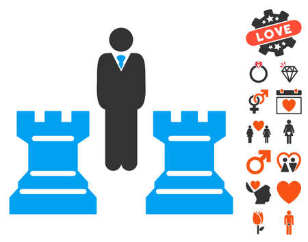 Strategy Chess Towers icon with bonus decoration symbols. Vector illustration style is flat iconic symbols for web design, app user interfaces.