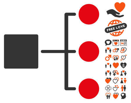 dating strategy: Structure Diagram pictograph with bonus valentine pictures. Vector illustration style is flat iconic symbols for web design, app user interfaces.