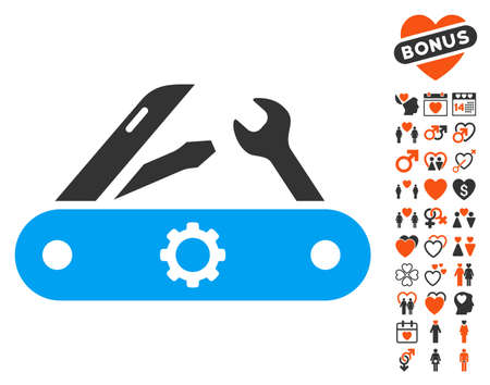 Swiss Knife pictograph with bonus marriage symbols. Vector illustration style is flat iconic elements for web design, app user interfaces.