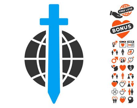 Sword Globe icon with bonus romantic icon set. Vector illustration style is flat iconic elements for web design, app user interfaces. Illustration