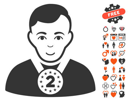 2nd: 2nd Prizer Sportsman pictograph with bonus love clip art. Vector illustration style is flat iconic elements for web design, app user interfaces.