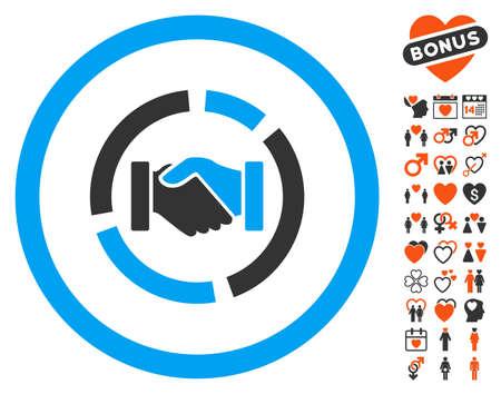Acquisition Diagram icon with bonus dating symbols. Vector illustration style is flat iconic symbols for web design, app user interfaces. Illustration