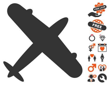 Aeroplane icon with bonus decorative pictures. Vector illustration style is flat iconic symbols for web design, app user interfaces. Illustration