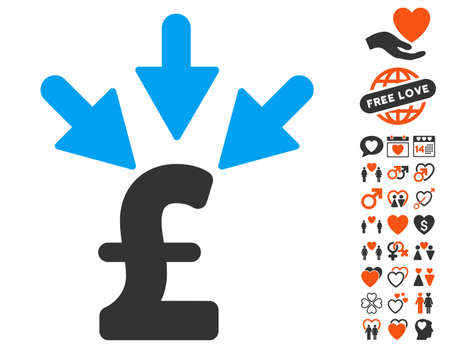 Aggregate Pound Payment icon with bonus dating graphic icons. Vector illustration style is flat iconic symbols for web design, app user interfaces.