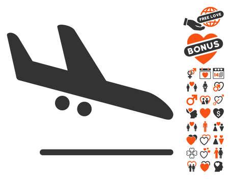 descending: Aiplane Landing icon with bonus dating clip art. Vector illustration style is flat iconic elements for web design, app user interfaces. Illustration