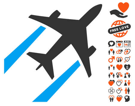 Air Jet Trace pictograph with bonus decoration graphic icons. Vector illustration style is flat iconic symbols for web design, app user interfaces.