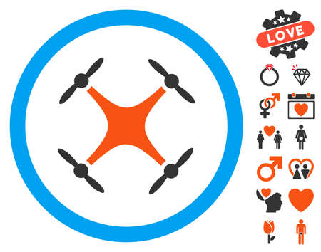 airflight: Airdrone pictograph with bonus valentine icon set. Vector illustration style is flat iconic elements for web design, app user interfaces.