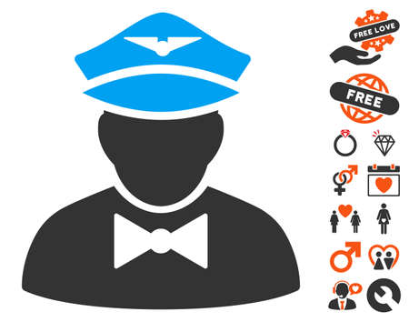 Airline Steward pictograph with bonus love pictograms. Vector illustration style is flat iconic symbols for web design, app user interfaces. Illustration